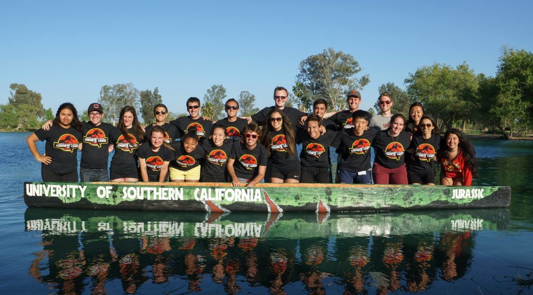 2015 Concrete Canoe Team Photo with our canoe, Jurassic