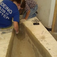 We still had to place the third layer of concrete on the ends under the bulkhead