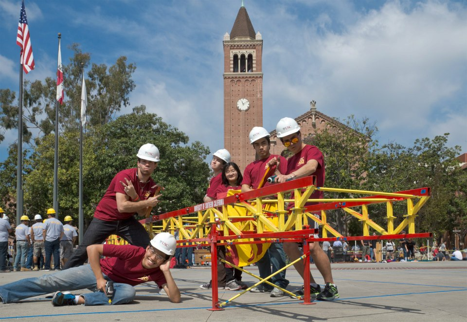 The 2013 Steel Bridge Team poses with the assembled bridge after the PSWC 2013 competition, in front of Mudd Hall at Pardee Plaza on the USC campus. <br/>Photo © 2013 Lance Hill
