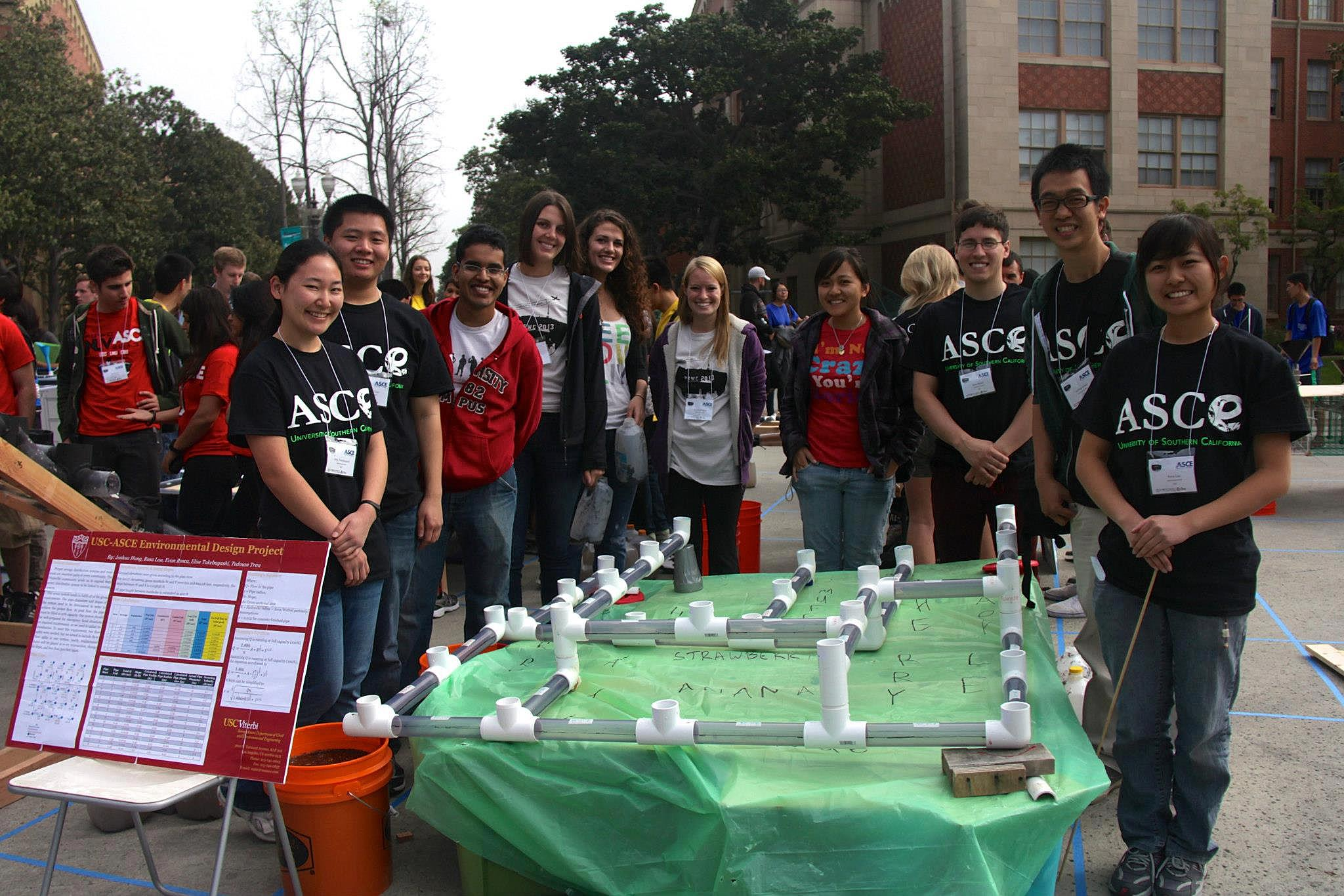 Our 2013 Environmental Design Team poses with their water distribution system at the PSWC Environmental Competition at Pardee Plaza on the USC Campus.