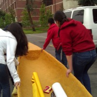 Rolling the canoe from KAP to Alumni Park