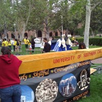 Our canoe stand features the trojan values and images that represent USC culture.