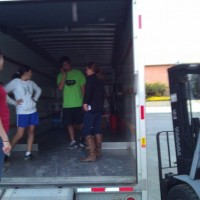 Loading stuff into the truck.