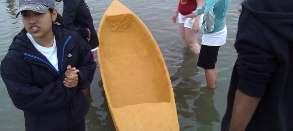 Once we got to Santa Fe Dam, the canoe went straight into the water. It floats!