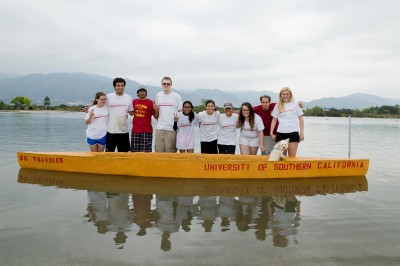 The 2013 Concrete Canoe Team poses with their USC-themed canoe, SC Traveler, after successfully finishing all five races at PSWC 2013.