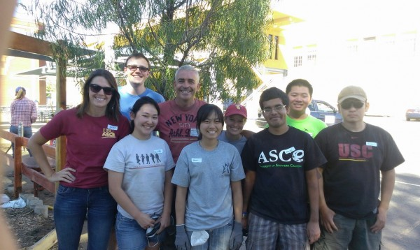USC ASCE Team at the Vine St. Elementary Edible Garden Project with organizer Tomas O'Grady