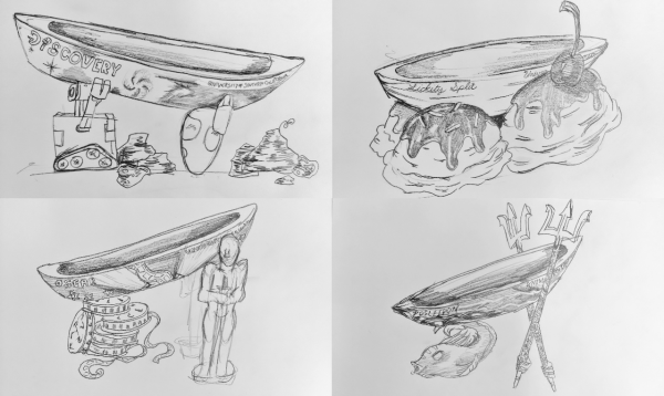 Concrete Canoe Theme Concept Sketches by Jessica Maass