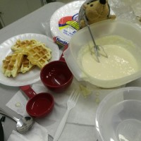 Phil decided to make us waffles to cellebrate the completion of our cardboard chairs!