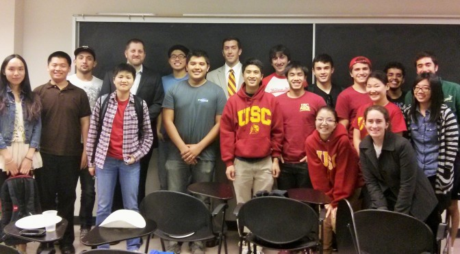 USC ASCE members with a guest speaker after hearing their presentation.