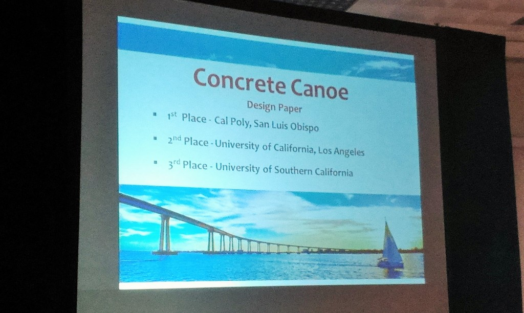 Concrete Canoe Team: 3rd Place in Design Paper (team photo interrupted by 3rd place overall celebration)