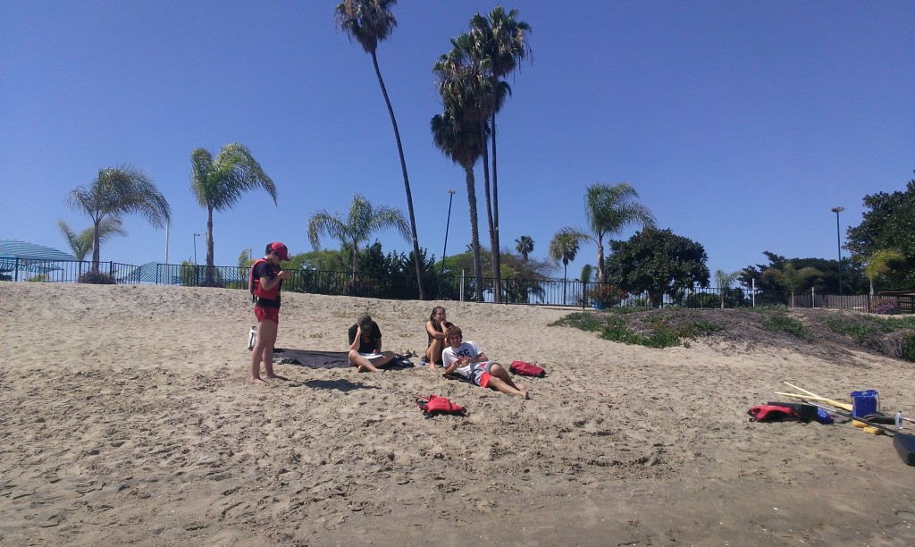 Hanging out on the beach while we rest between practices.