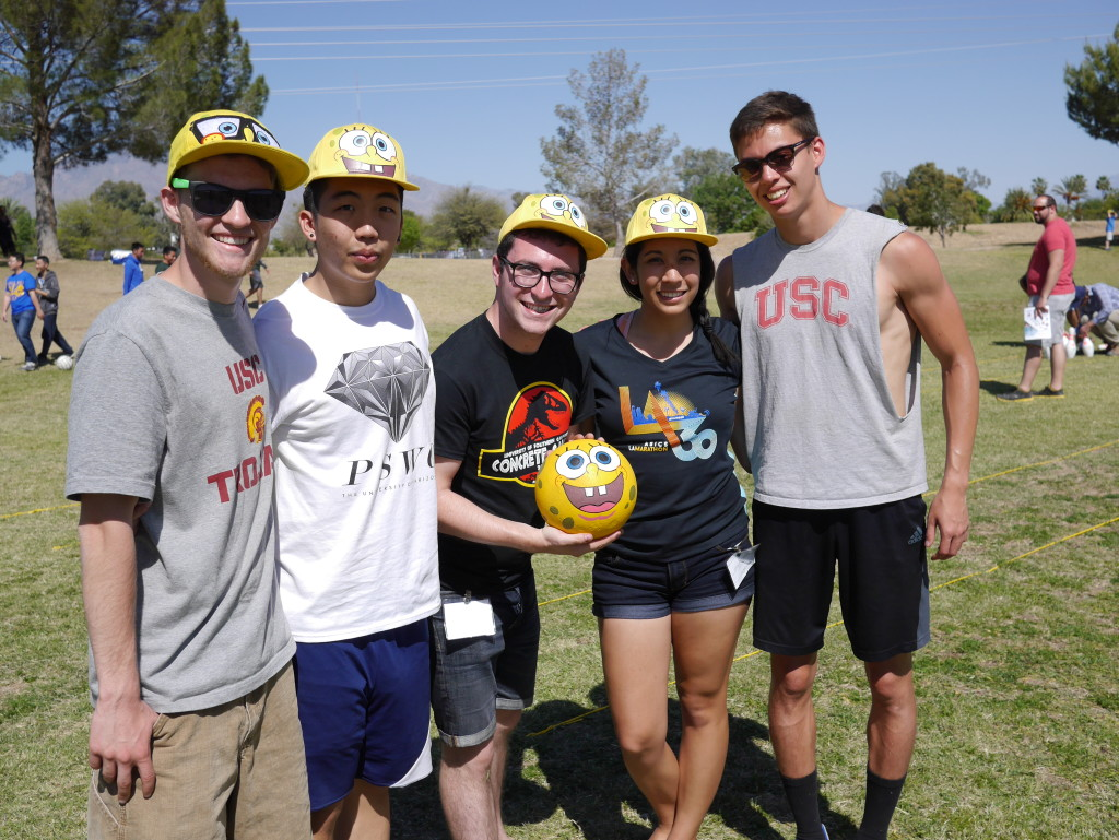 The Concrete Bowling Team poses with their Spongebob-themed ball.