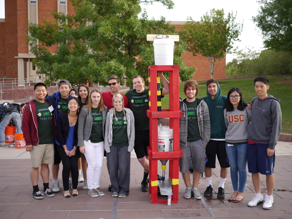 2015 USC Environmental Team with their water filtration system.