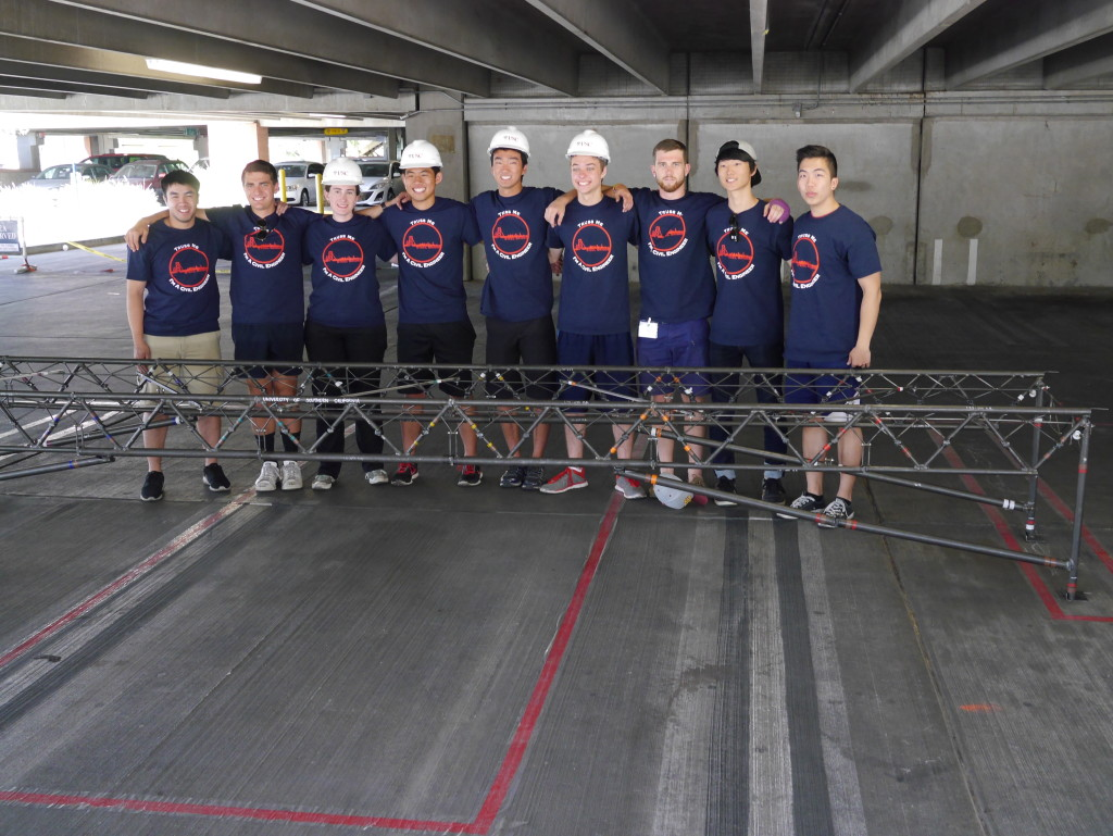 2015 Steel Bridge Team with their assembled bridge.