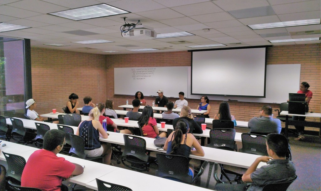 Alumni panel shares their experiences with new students.