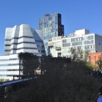 View of a Frank Gehry-designed building from the High Line.