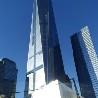One World Trade Center and the 9/11 Memorial building.