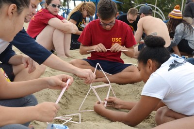 The team worked hard to make their structure stand in the strong winds!