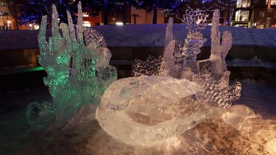 Ice sculptures at Anchorage's Town Square Park