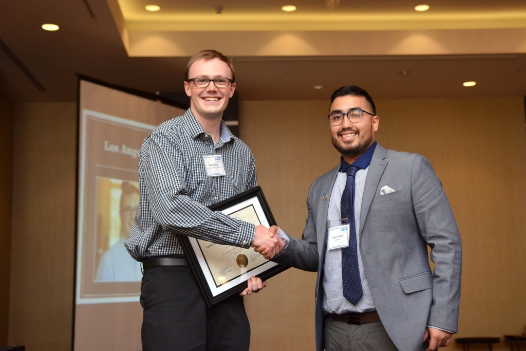 USC ASCE President Nick Halsey with ASCE MLAB University Outreach Chair Brian Ochoa.