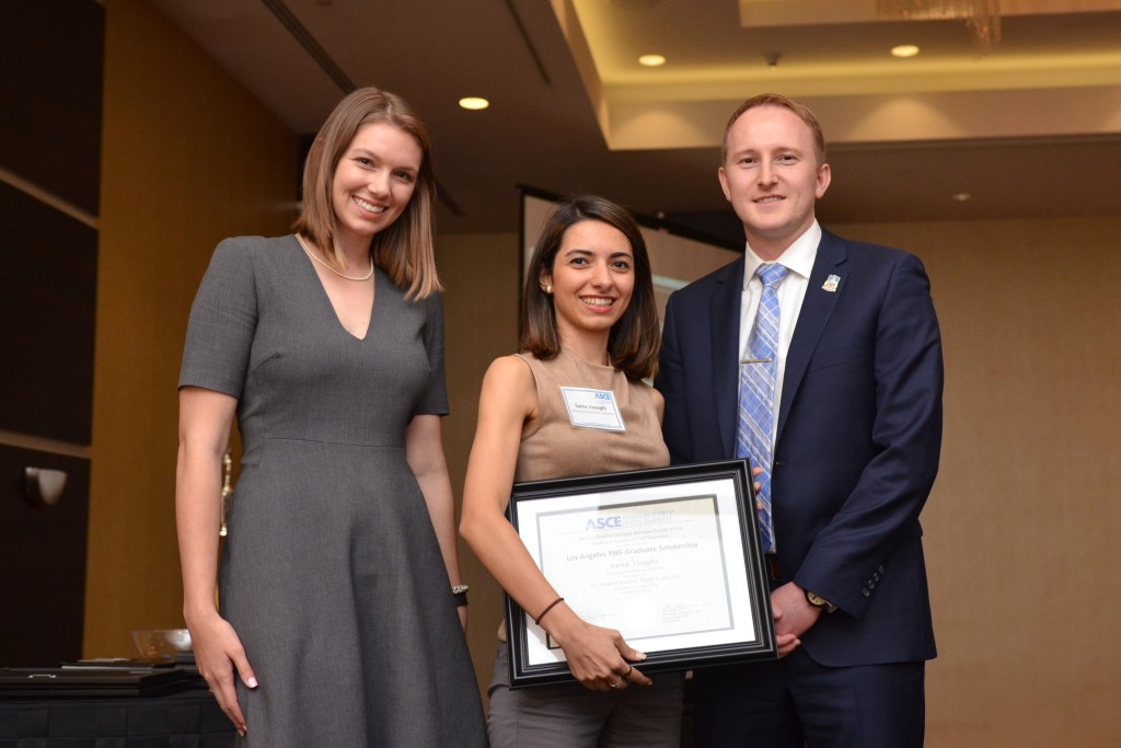 USC ASCE Membership Chair Saina Vosoghi with her YMF Graduate Scholarship Award.