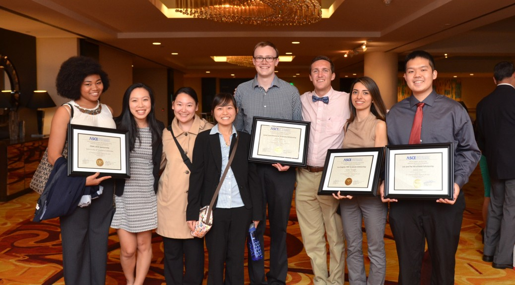 USC ASCE members with their awards.