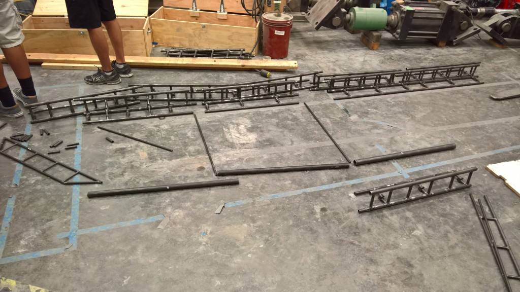 Pieces of the Steel Bridge are laid out.